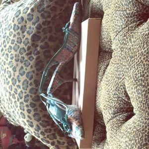 Tweed flower turquoise/pink plaid sling backs